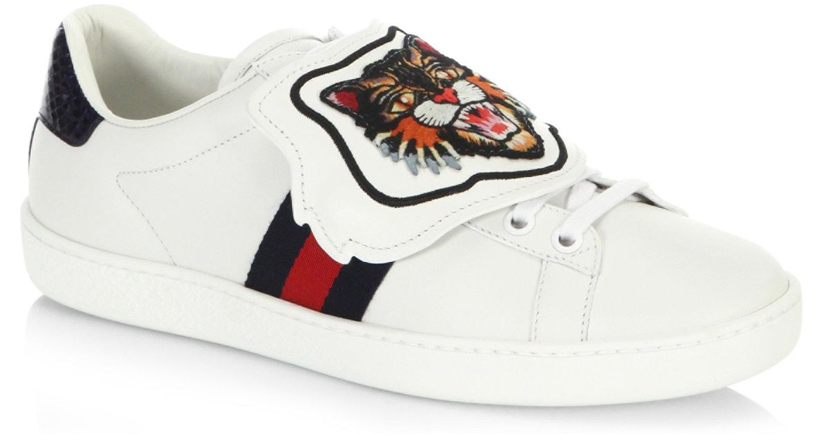 20cc5ead3 ... All White Gucci Ace: Gucci New Ace Sneakers With Lion Patch In White