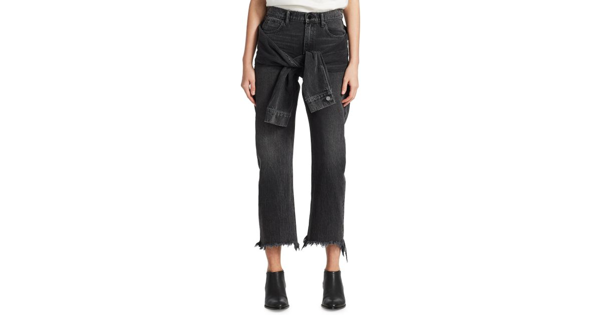 Stack Tie Tie-front Distressed High-rise Straight-leg Jeans - Light denim Alexander Wang 5TqQ102r1o