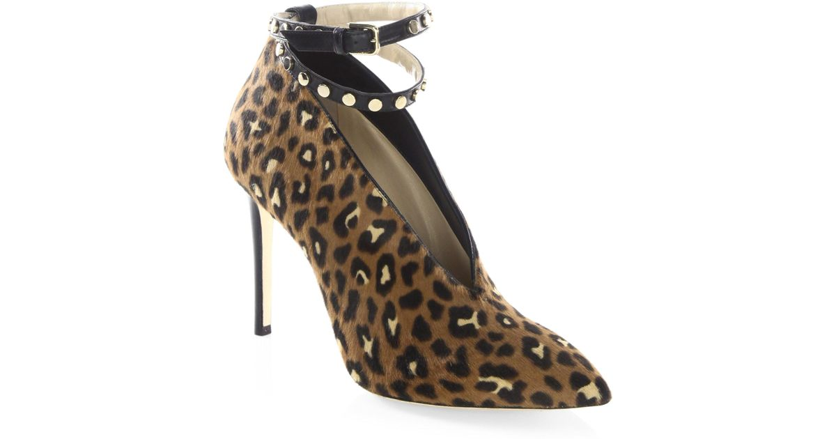 0378b2ef5f8 ... closeout jimmy choo lark 100 leopard print pony hair ankle strap booties  in brown lyst e5d7b