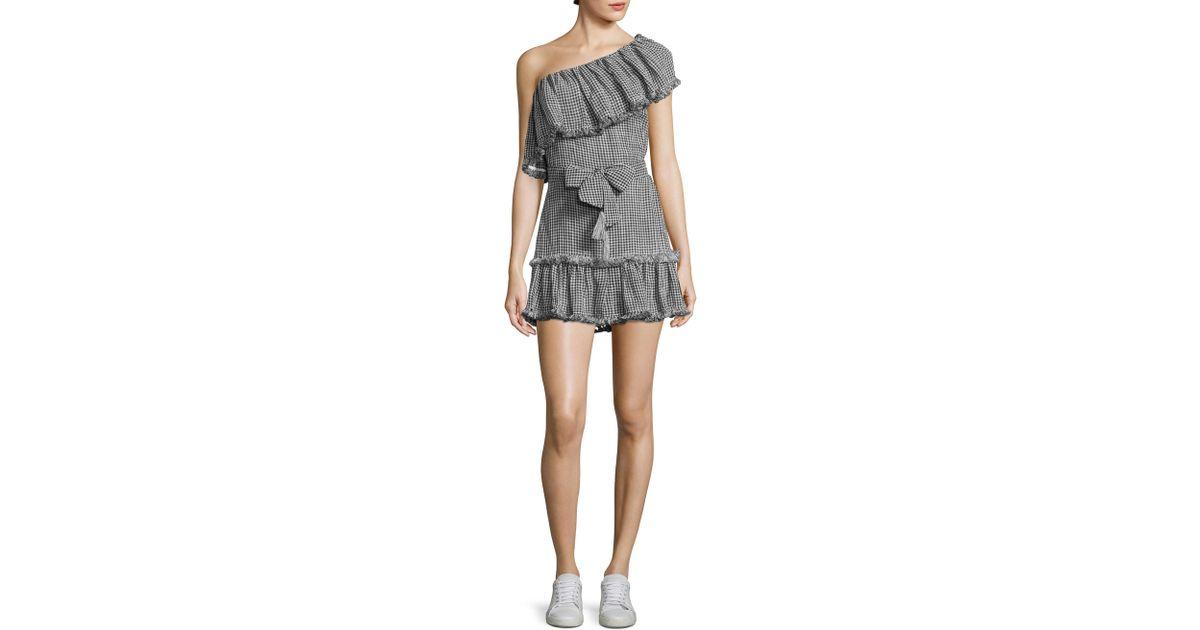 abe57fbb290 Zimmermann Paradiso Gingham-print One Shoulder Dress in Black - Lyst