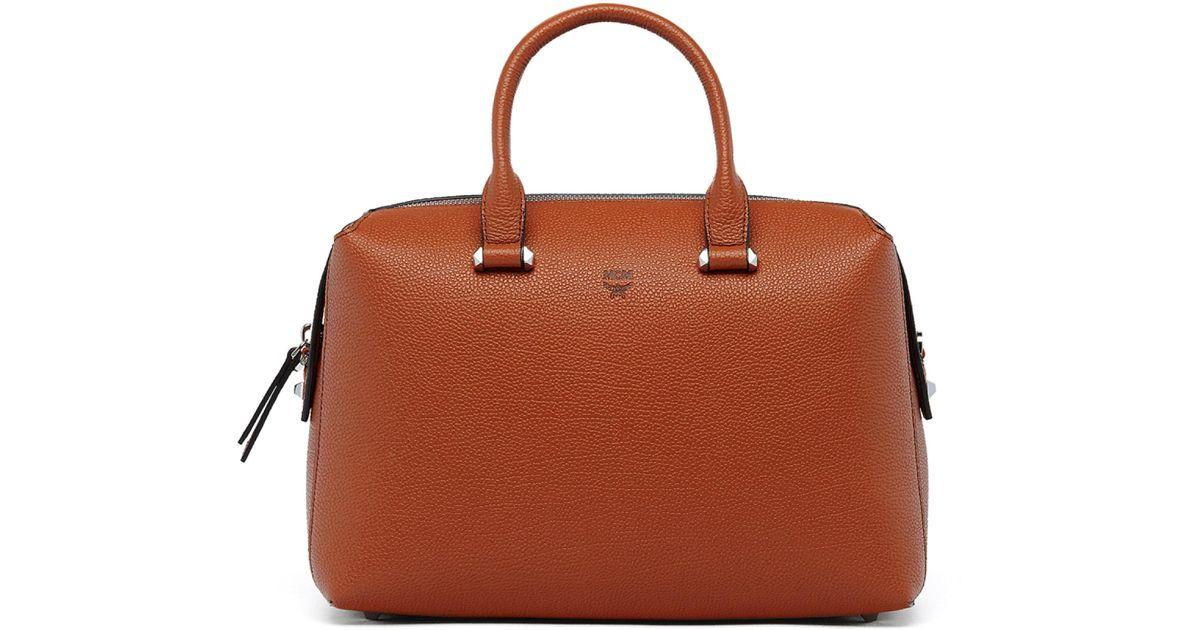 4c1870636974 Lyst - MCM Ella Boston Leather Bowler Bag in Brown