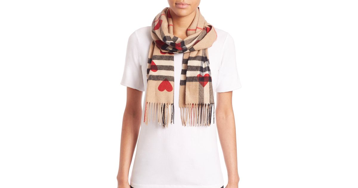 51d16f639d24 Lyst - Burberry Heart-print Giant Check Cashmere Scarf in Red