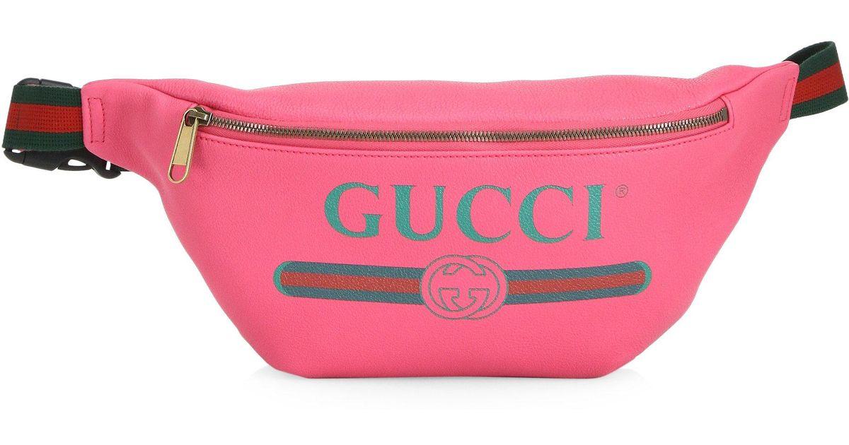 73851de509f Gucci Logo Fanny Pack in Pink for Men - Lyst