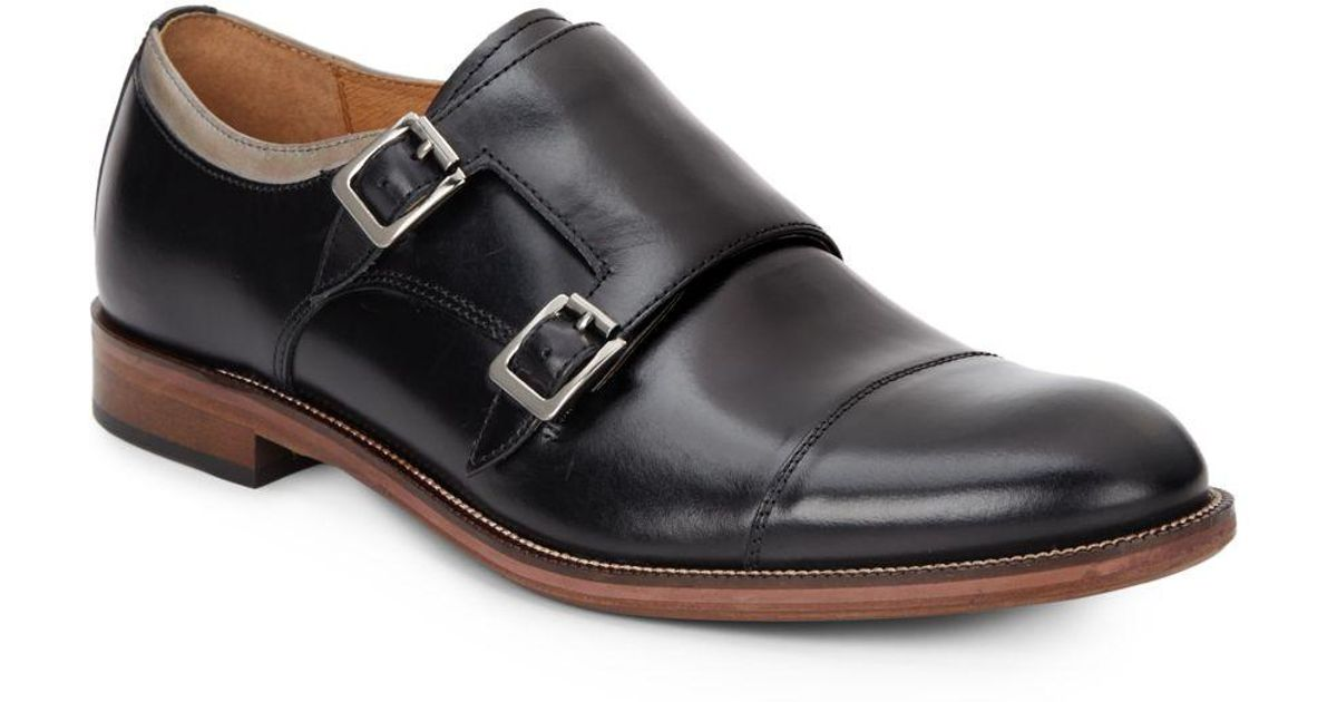 9b109882f7e Lyst - Johnston   Murphy Baynes Double-monk Strap Leather Loafers in Black  for Men