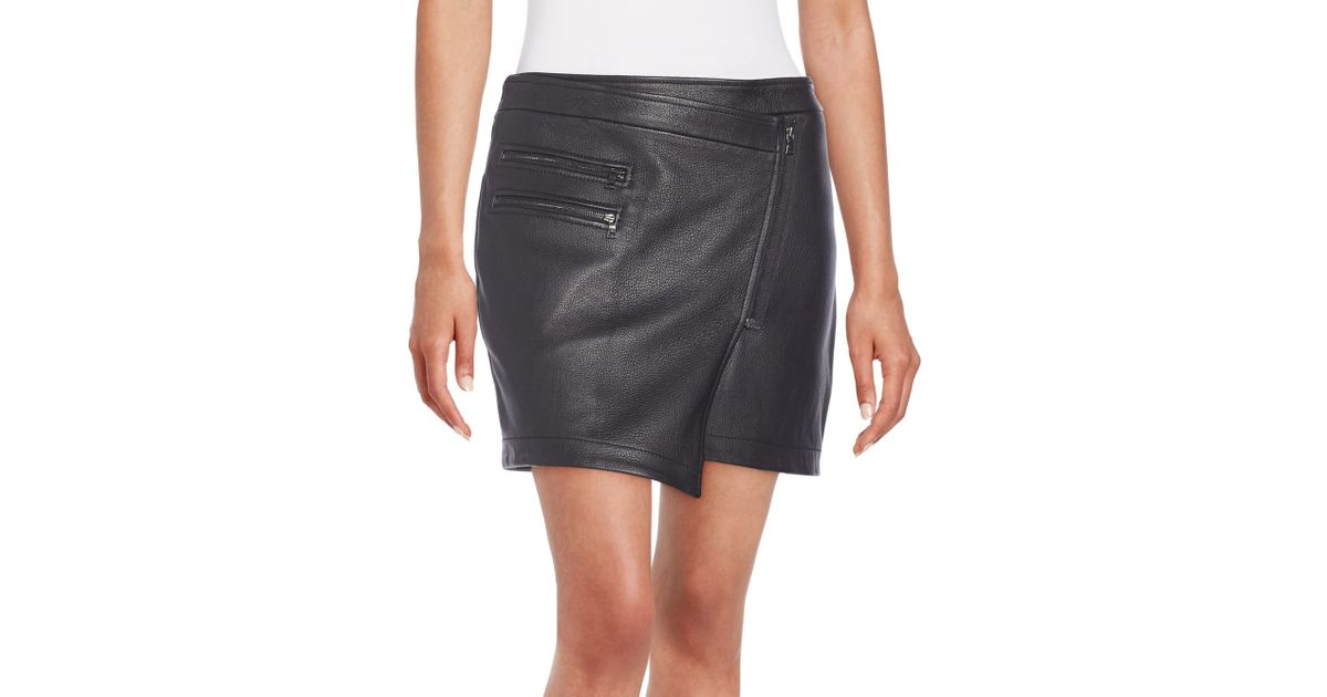 d80b67f955 Lyst - BCBGMAXAZRIA Lizzy Leather Wrap Skirt in Black