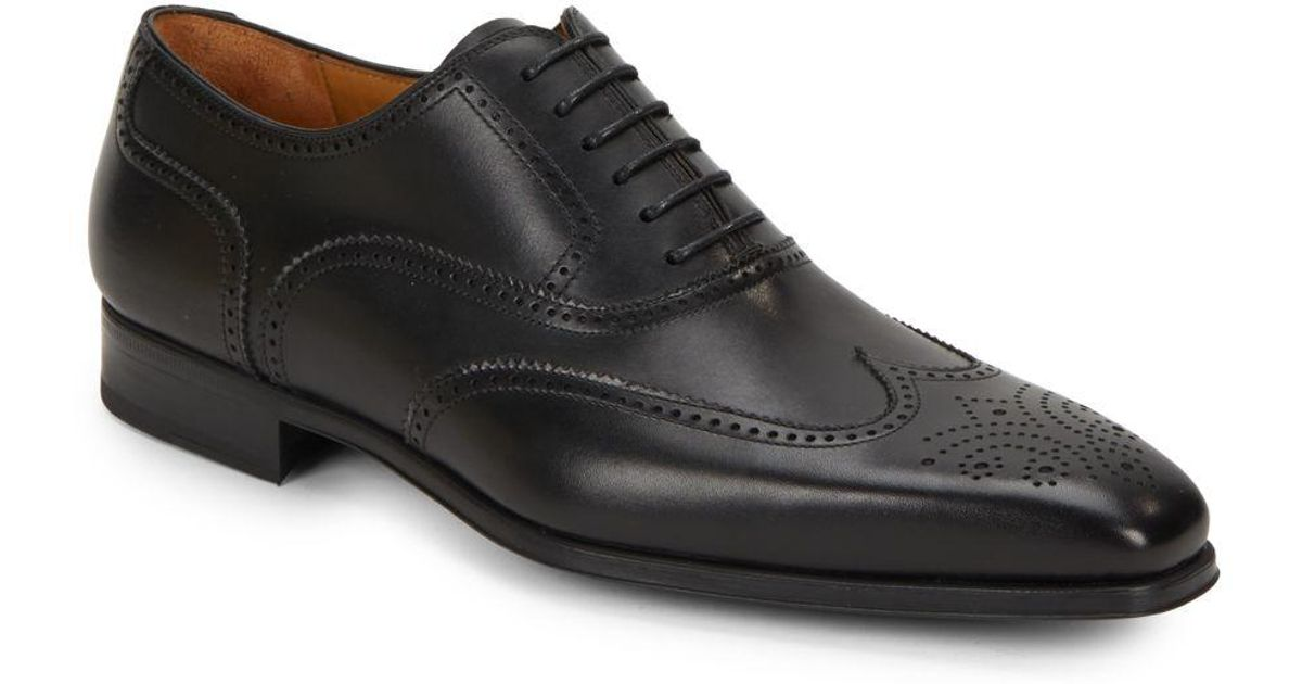 Saks fifth avenue Burnished Calfskin Leather Wingtip Shoes in Red for Men | Lyst