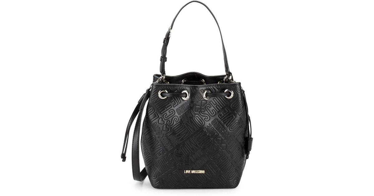 5ce77efc913 Love Moschino Embossed Logo Bucket Bag in Black - Lyst