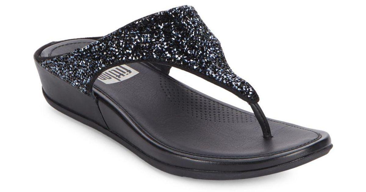 ffe4011a58c7d Fitflop Bandaroxy Tm Glittering Toe-thong Sandals in Black - Lyst