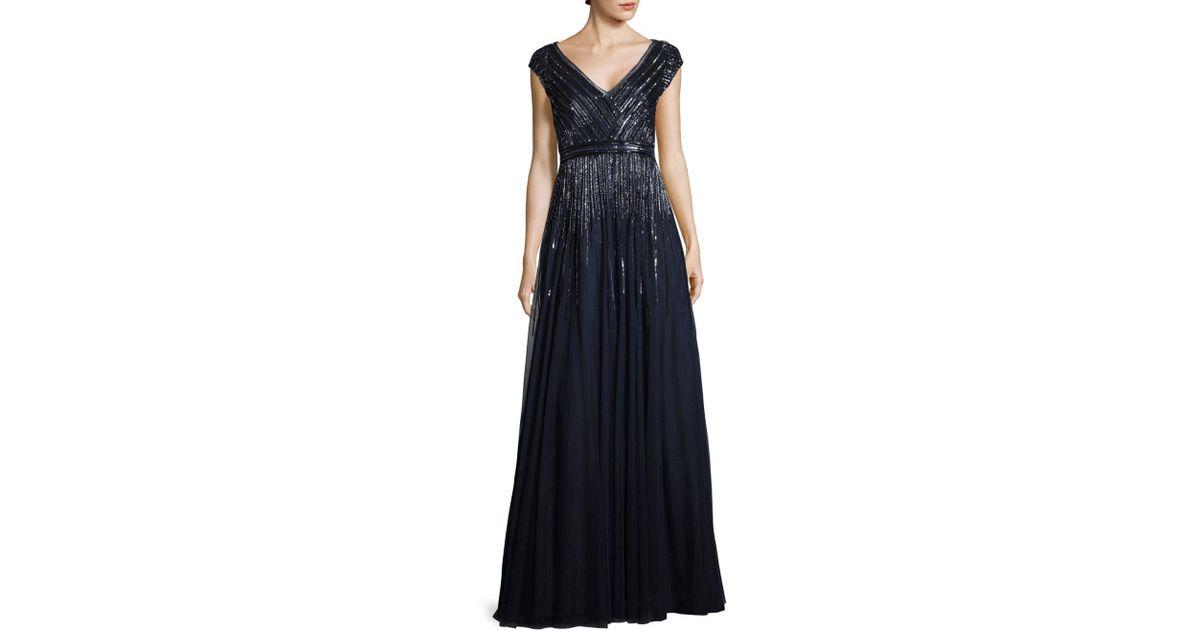 Lyst Aidan By Aidan Mattox Beaded Pleated Gown In Blue