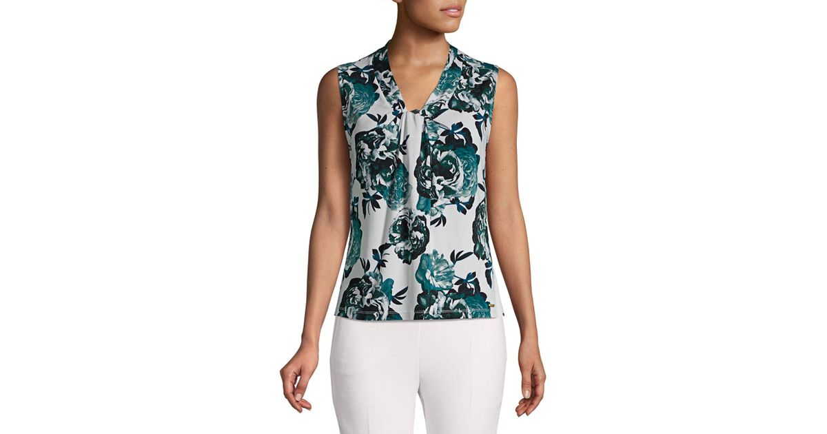 f227605a89b99 Lyst - Calvin Klein Floral Knotted Top