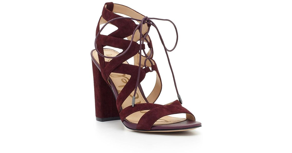 ab0b3bff2f688a Lyst - Sam Edelman Yardley Lace-up Suede Block Heel Sandals