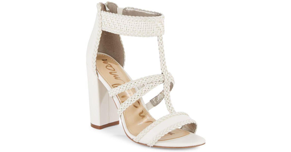 2291bc0ed986f Lyst - Sam Edelman Yordana Woven T-strap Sandal in White