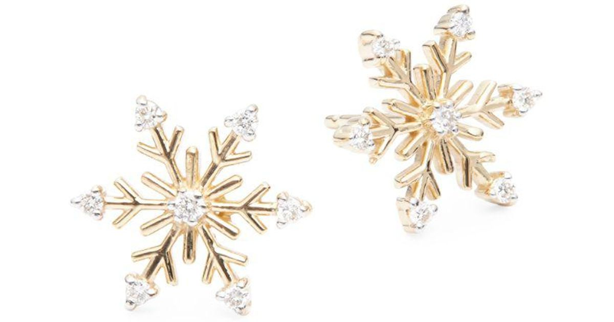 Lyst Kc Designs Diamond 14k Yellow Gold Snowflake Earrings In Metallic