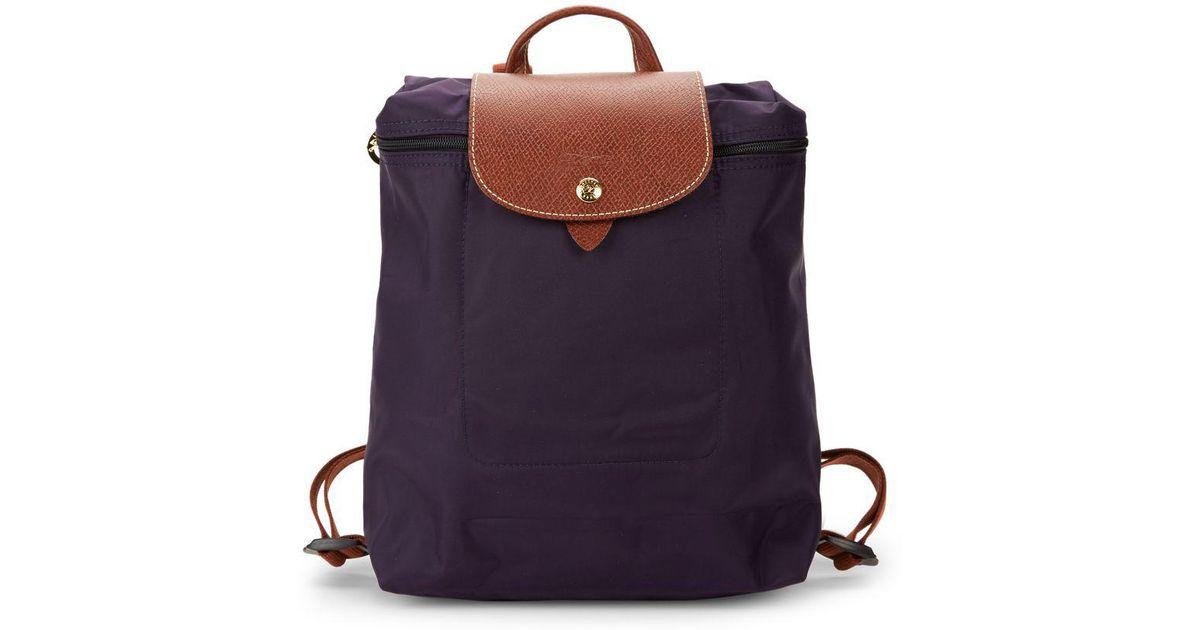 2d8518770a4 Lyst - Longchamp Le Pliage Zip Backpack in Blue