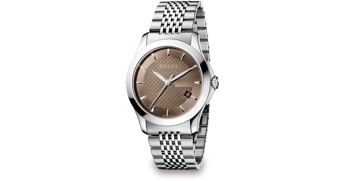 bf4cfe2d128 Lyst - Gucci G-timeless Stainless Steel Bracelet Watch brown in Metallic