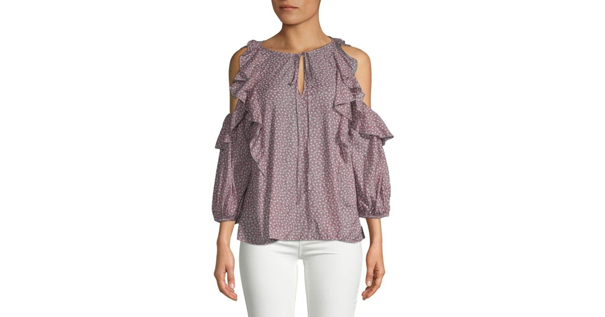 01460d0ed52a93 French Connection Elao Voile Cold-shoulder Ruffle Blouse - Lyst