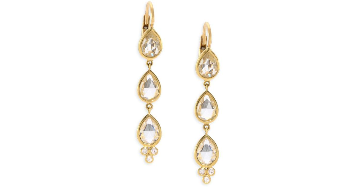 Lyst Temple St Clair 18k Gold Triple White Shire Diamond Accent Drop Earrings In Metallic