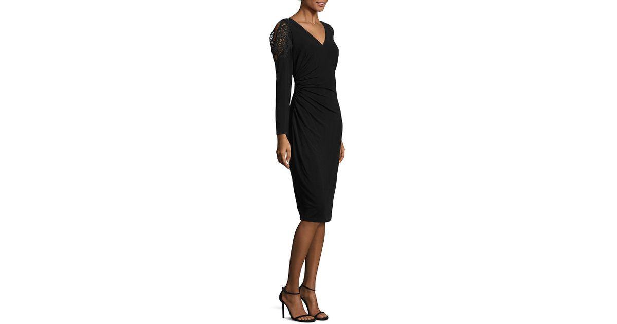 137e6d21ffe9 David Meister Lace-trim Cold-shoulder Dress in Black - Lyst