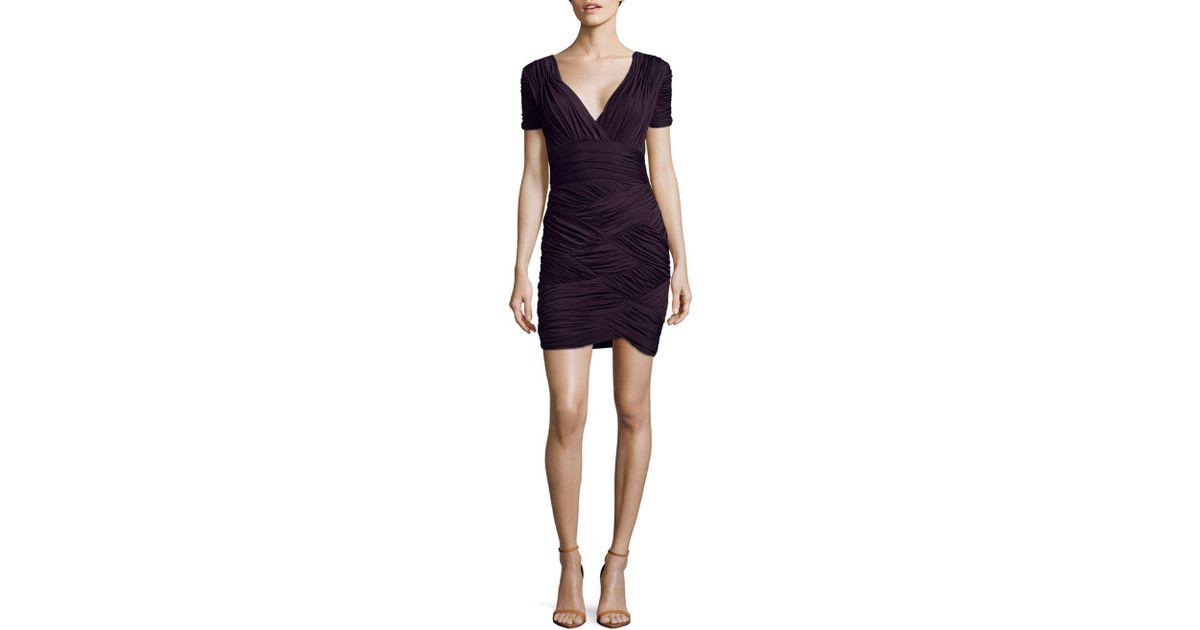 6e8cd256b02b0 Halston Gathered Mini Dress in Purple - Lyst