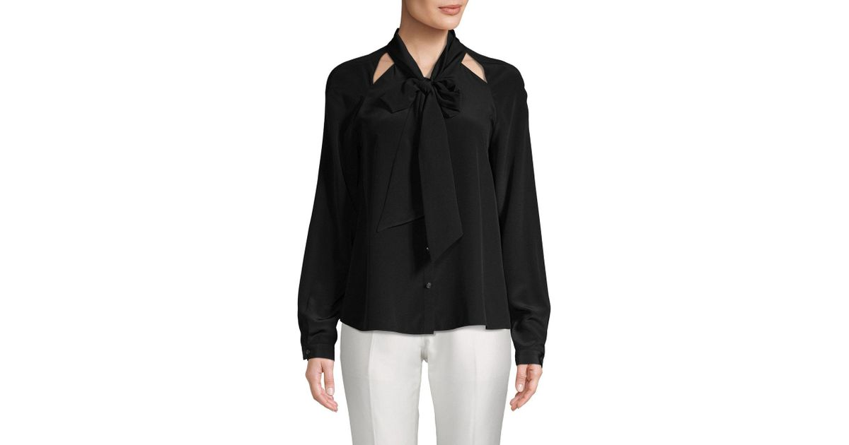 ec70f8d97fc4a4 Lyst - Temperley London Purity Bow Silk Button-down Shirt in Black