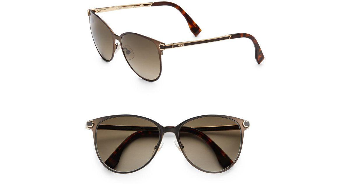 3eca52fa50f0 Lyst - Fendi 2jours Metal Cat s-eye Sunglasses in Brown