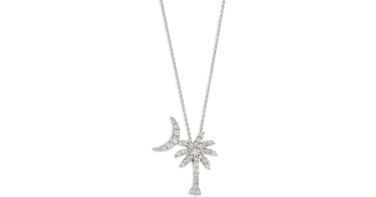 Lyst roberto coin white gold diamond palm tree pendant necklace lyst roberto coin white gold diamond palm tree pendant necklace in metallic aloadofball Images