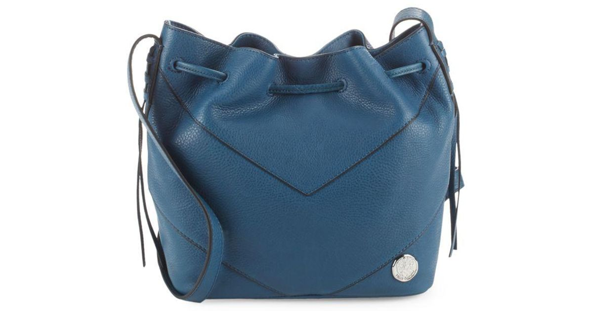 381a0c3a4bb Lyst - Vince Camuto Leather Crossbody Bucket Bag in Blue