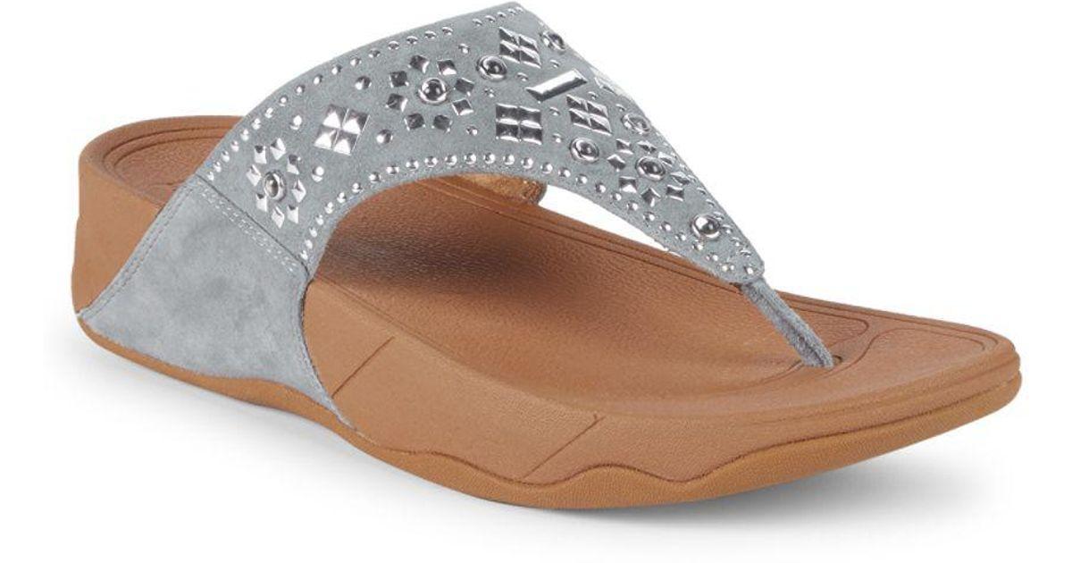 46a2549492156 Lyst - Fitflop Lulu Aztek Stud Leather Flip Flops in Blue