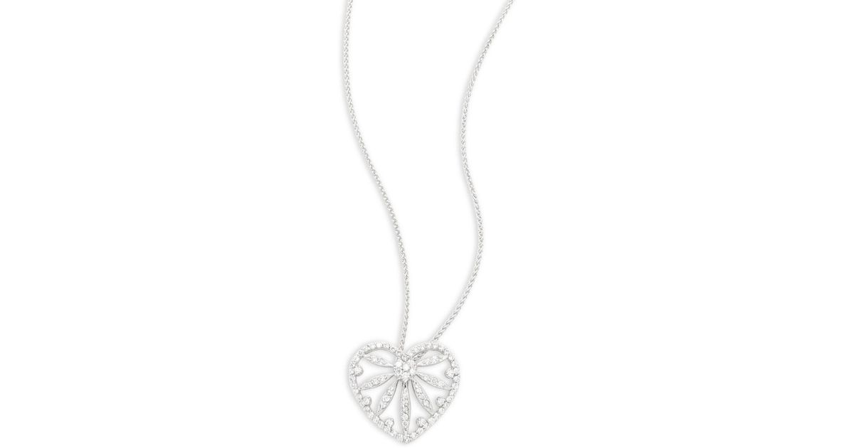 Lyst effy diamond 14k white gold heart shaped pendant necklace lyst effy diamond 14k white gold heart shaped pendant necklace in white aloadofball Image collections