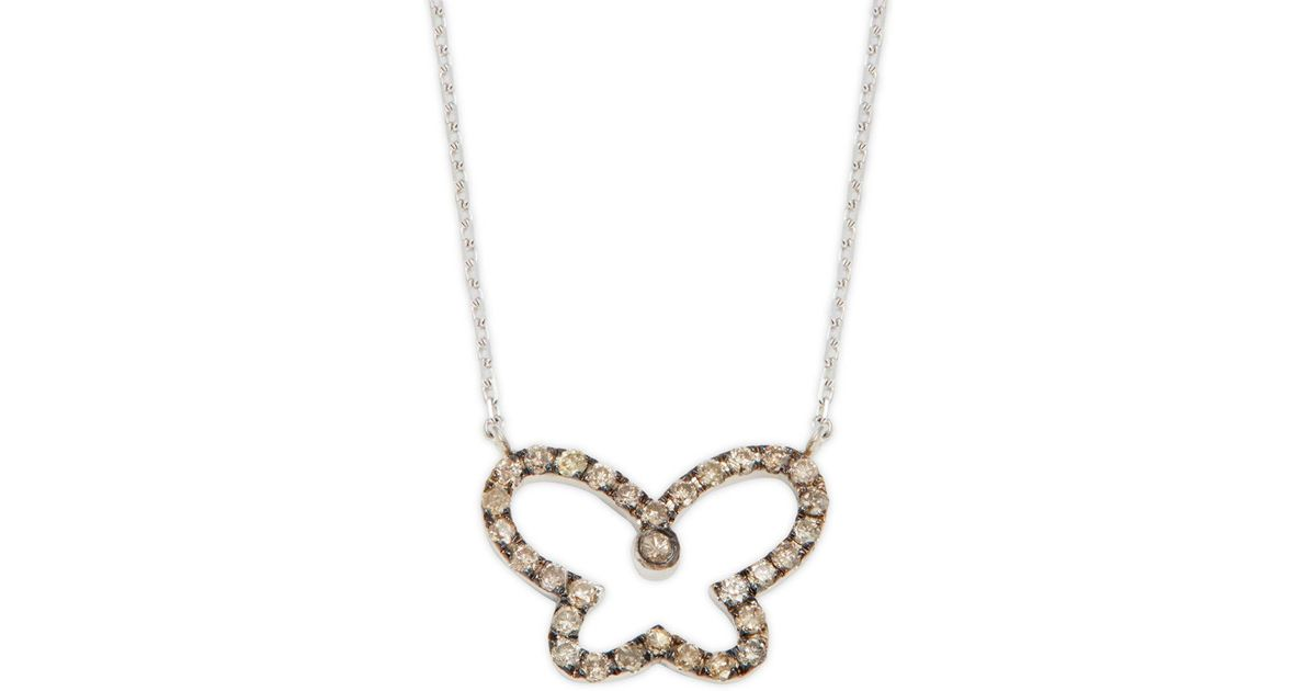 51e8bfb07afe3 Suzanne Kalan - Metallic 14k White Gold & Champagne Diamond Butterfly  Pendant Necklace - Lyst