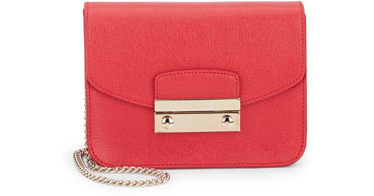 77ad8f87762 Lyst - Furla Julia Mini Saffiano Leather Crossbody in Red