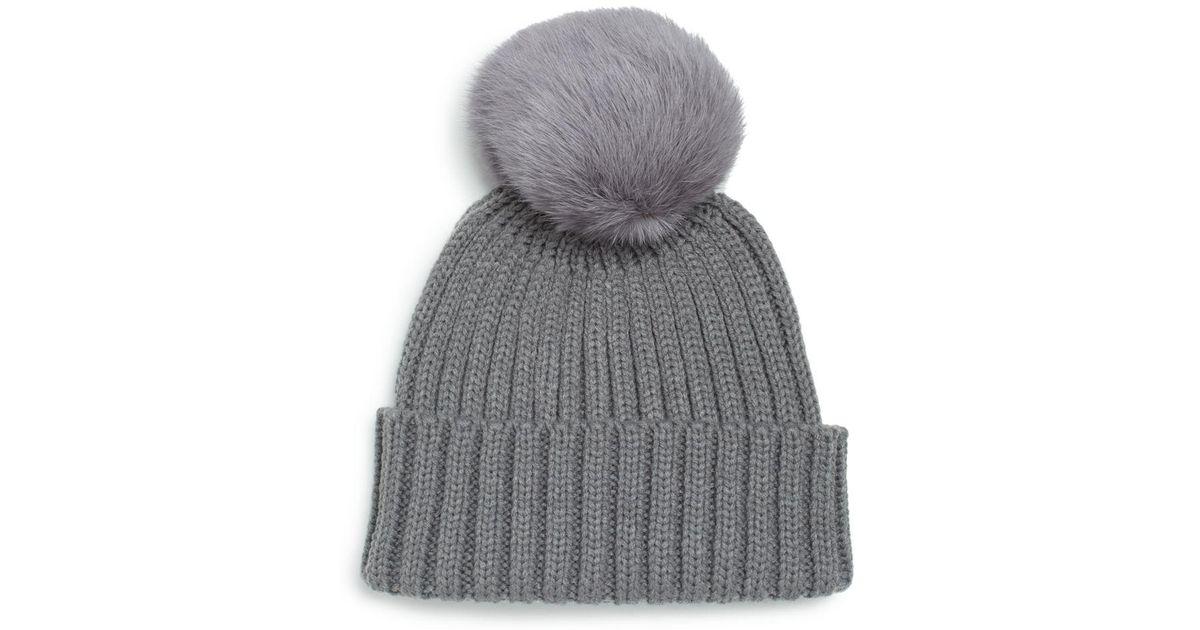 8bb7412db87 Lyst - Adrienne Landau Rib-knit Rabbit Fur Pom-pom Hat in Gray