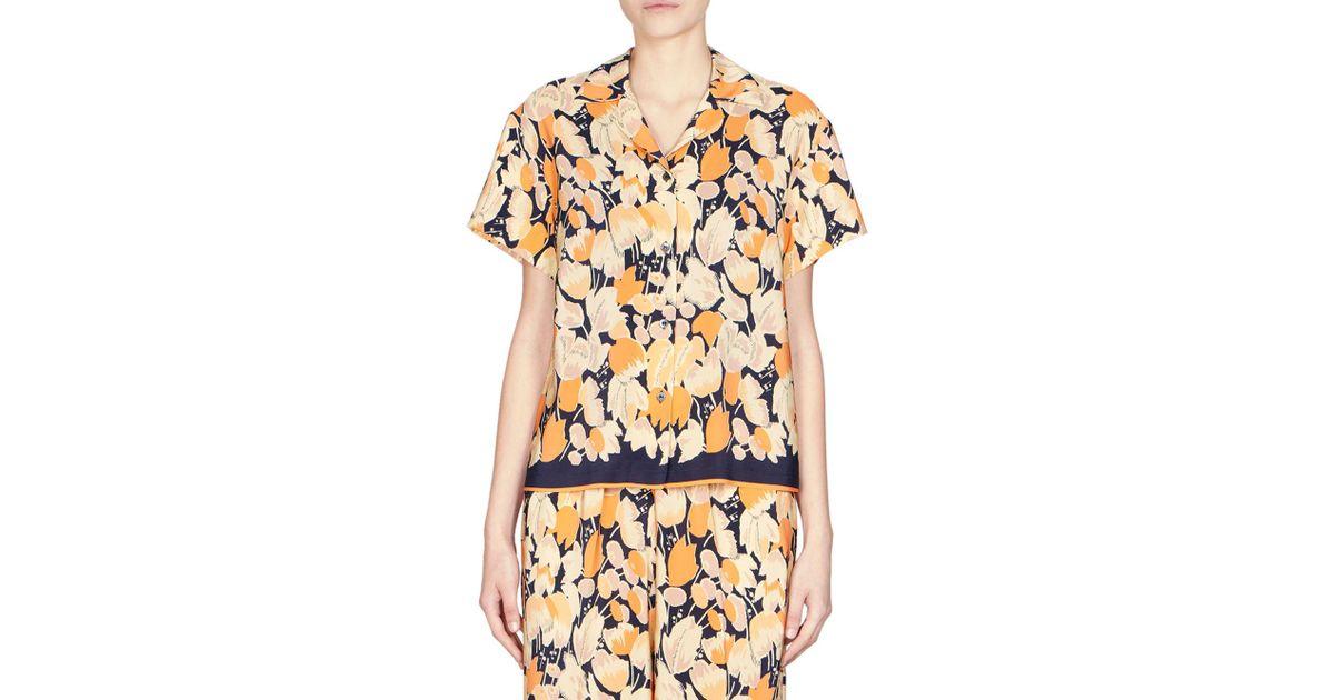 0a9f8c7093 Lyst - Dries Van Noten Floral Silk Top in Orange