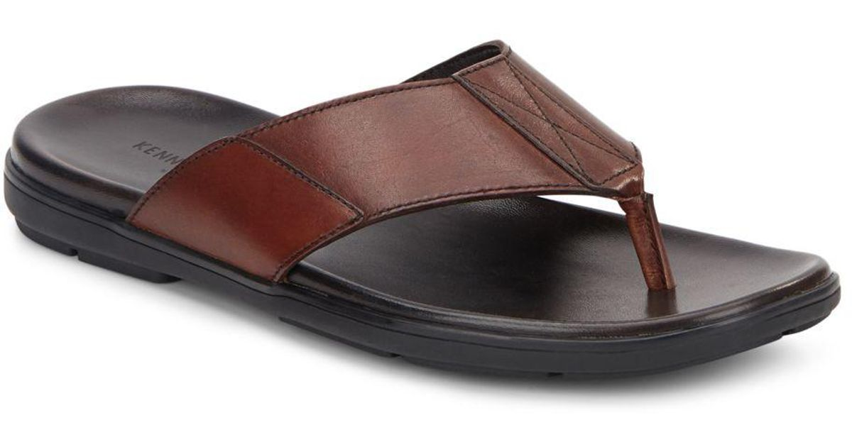 b58d26872 Lyst - Kenneth Cole Nite Lite Leather Thong Sandals in Brown for Men