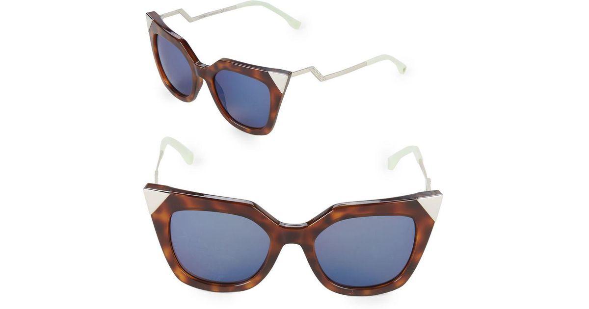 e2b29c57ed9 Lyst - Fendi Zig-zag 52mm Cat Eye Sunglasses in Blue