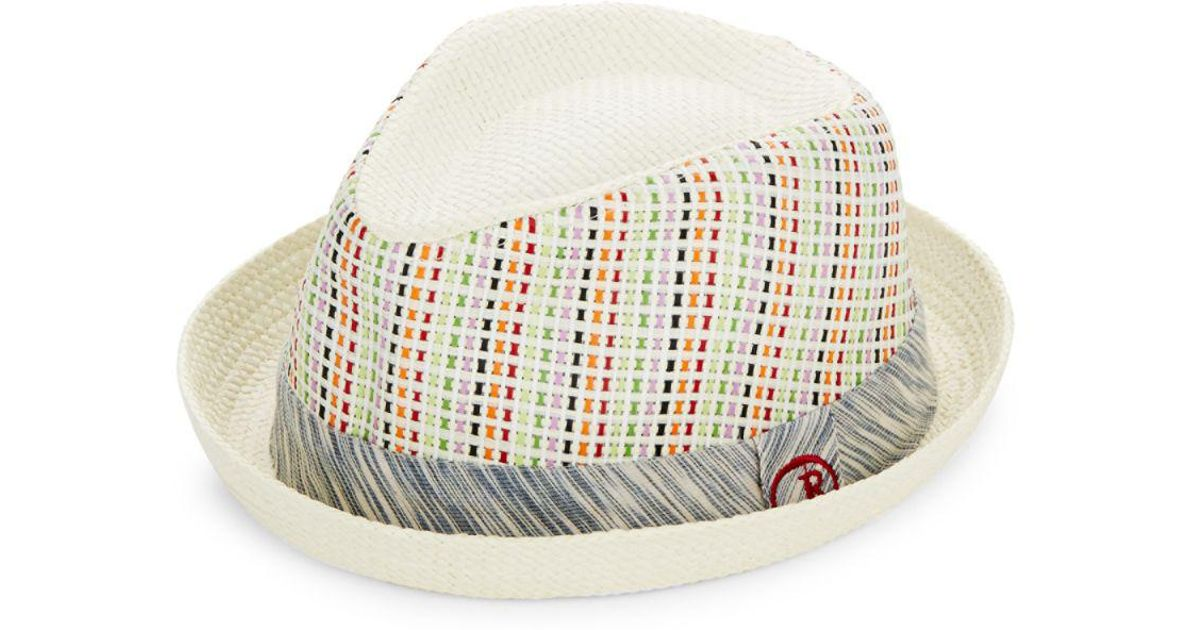 Lyst - Robert Graham Woven Pattern Fedora Hat in White for Men c2493a1b95a