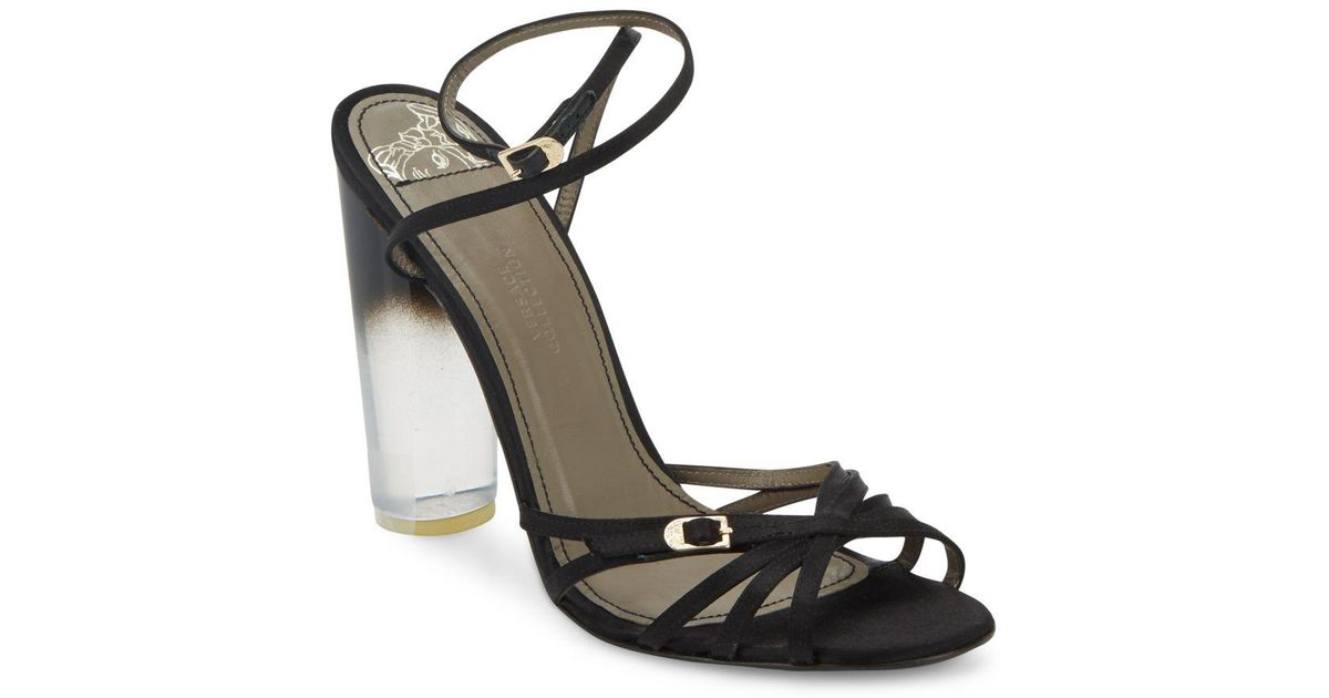Lyst - Versace Lucite-heel Strappy Satin Sandals in Natural