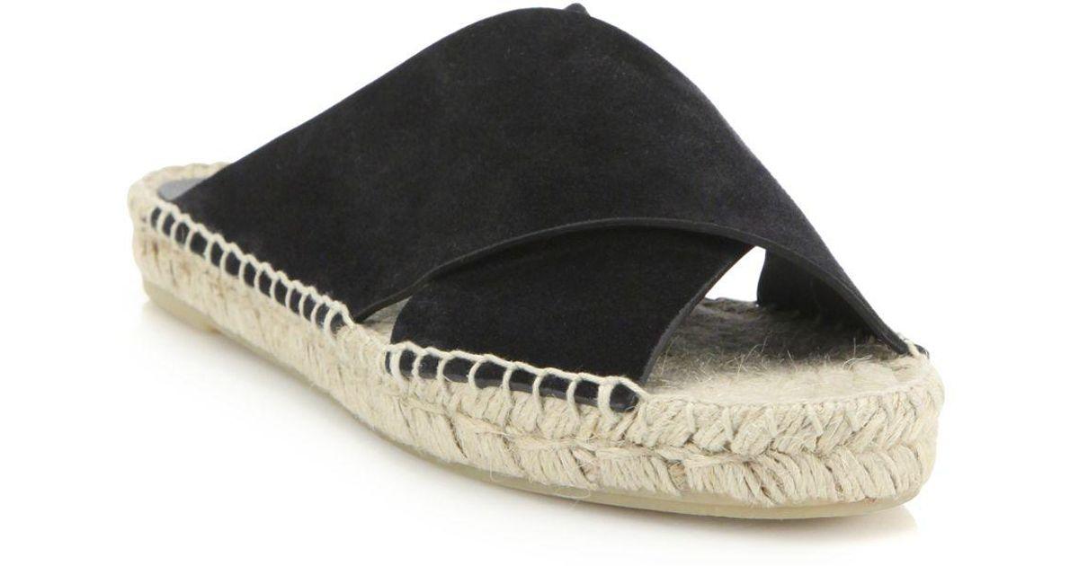 d8f8e80e3f8c Lyst - Vince Castel Suede Crisscross Espadrille Slide Sandals in Black