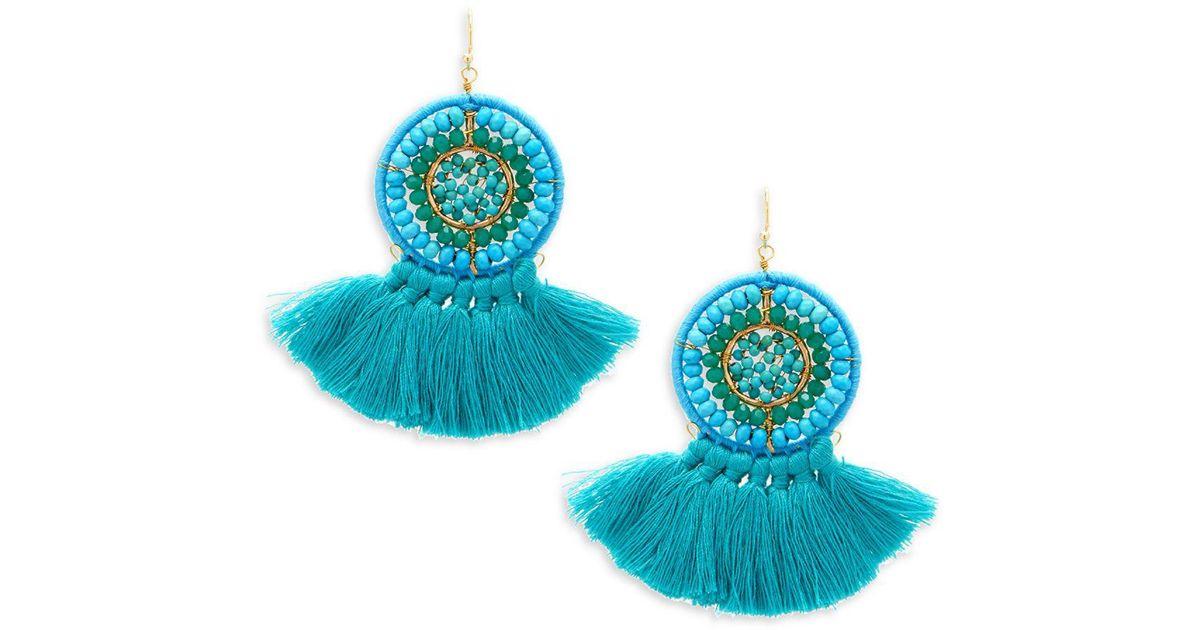 Panacea Round Beaded Turquoise-Hue Earrings 77ietX