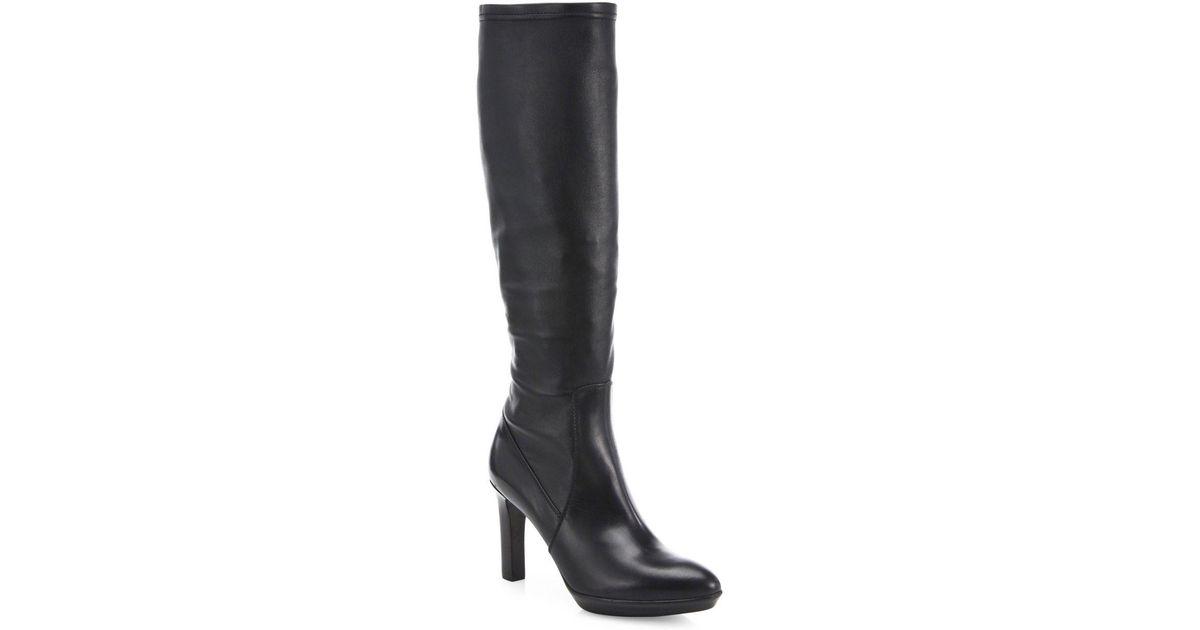 91e95aa2357 Lyst - Aquatalia Rhumba Tall Stretch-leather Boots in Black