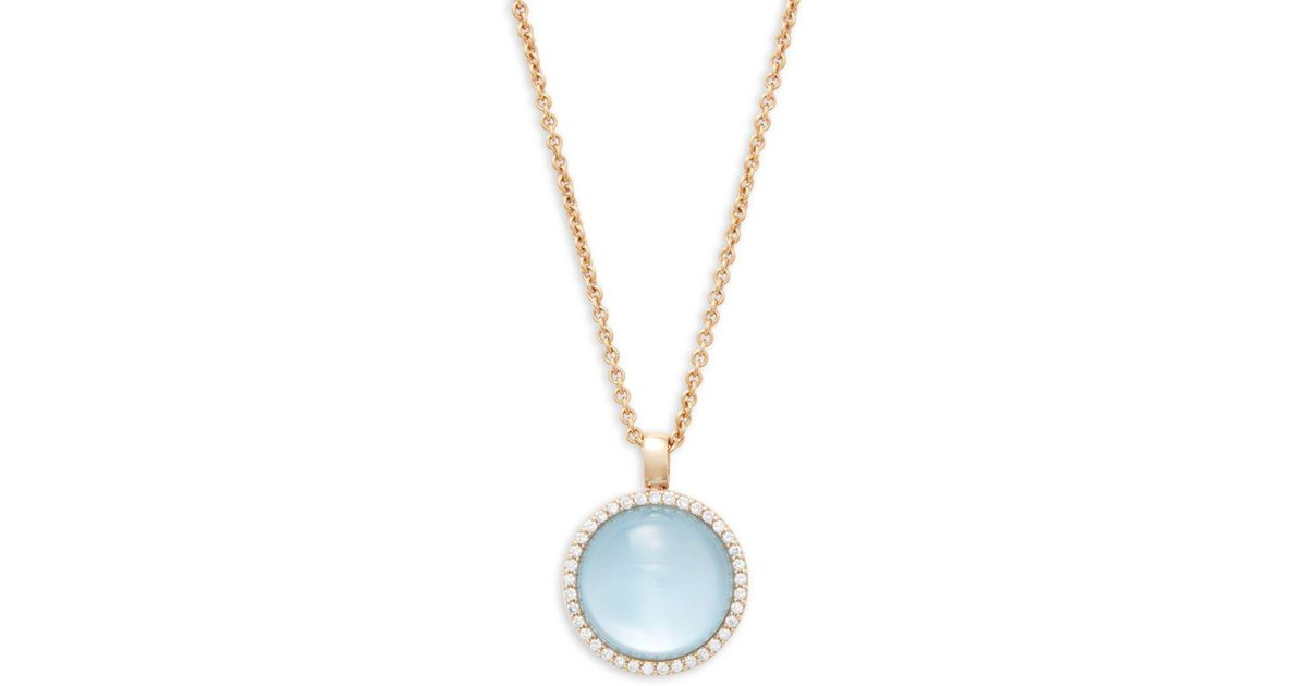 Lyst roberto coin round blue topaz diamond and 18k rose gold lyst roberto coin round blue topaz diamond and 18k rose gold pendant necklace in blue save 100 aloadofball Images