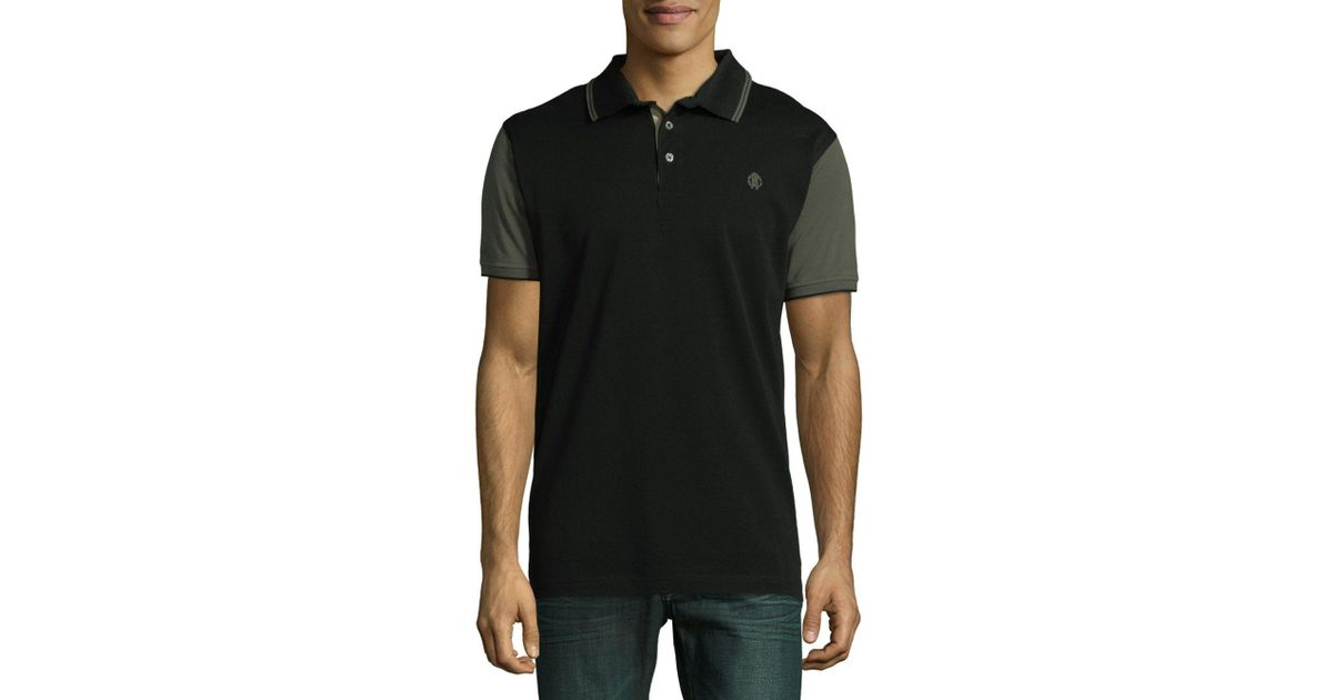 82b4ed19 Lyst - Roberto Cavalli Piquet Contrast Polo in Black for Men
