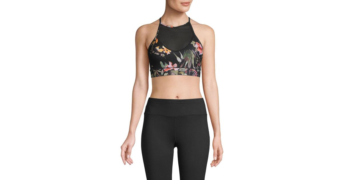0e47282bf Lyst - Betsey Johnson Floral Printed Sports Bra in Black