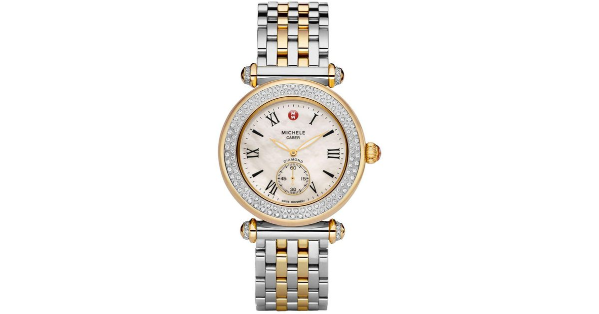 6bb010587 Michele Caber Diamond Two-tone Bracelet Watch in Metallic - Lyst