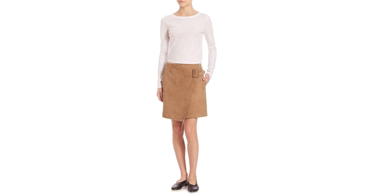 5798647c84 Vince Suede Asymmetrical Belted Skirt in Brown - Lyst