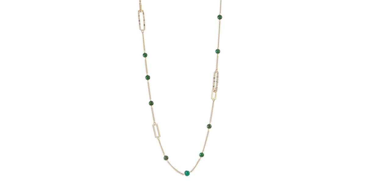 Alexis Bittar Crystal Encrusted Abstract Tulip Stone Station Necklace MKGVbw6H