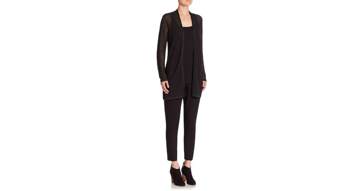 688ee8793a83b Lyst - Eileen Fisher Merino Wool Open-front Cardigan in Black