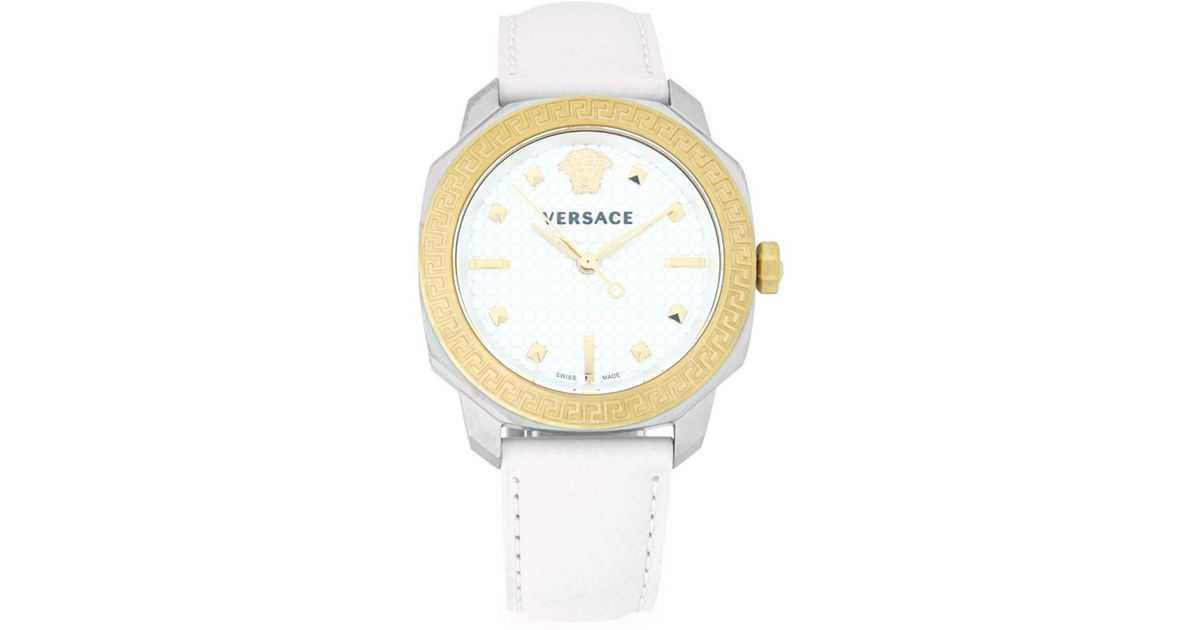 934acfdb80 Lyst - Versace Greek Key Leather Strap Watch in White