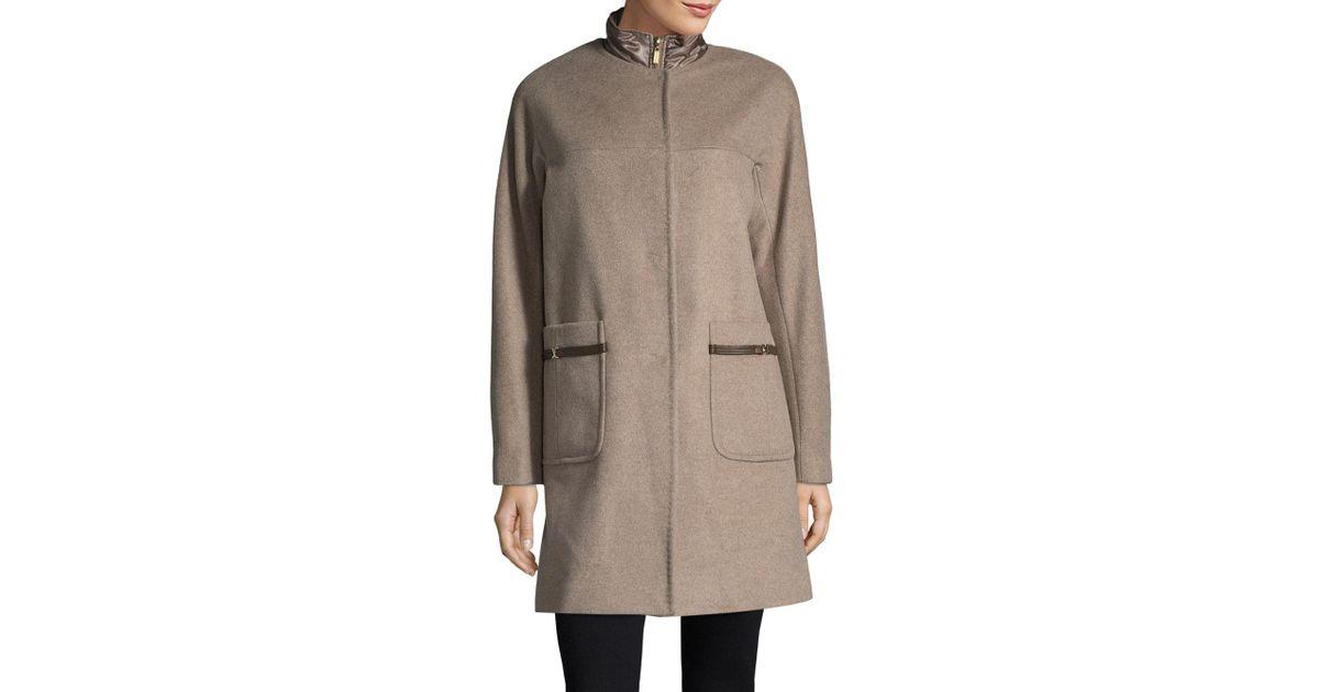 727d14a5f85 Lyst - Ellen Tracy Wool Blend Topper Coat