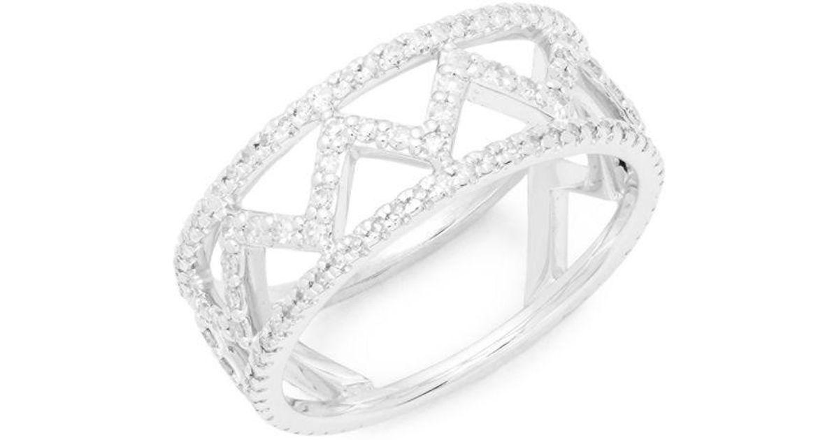 b8592ac13d54a Danni - Metallic 14k White Gold Diamond Zig Zag Ring - Lyst